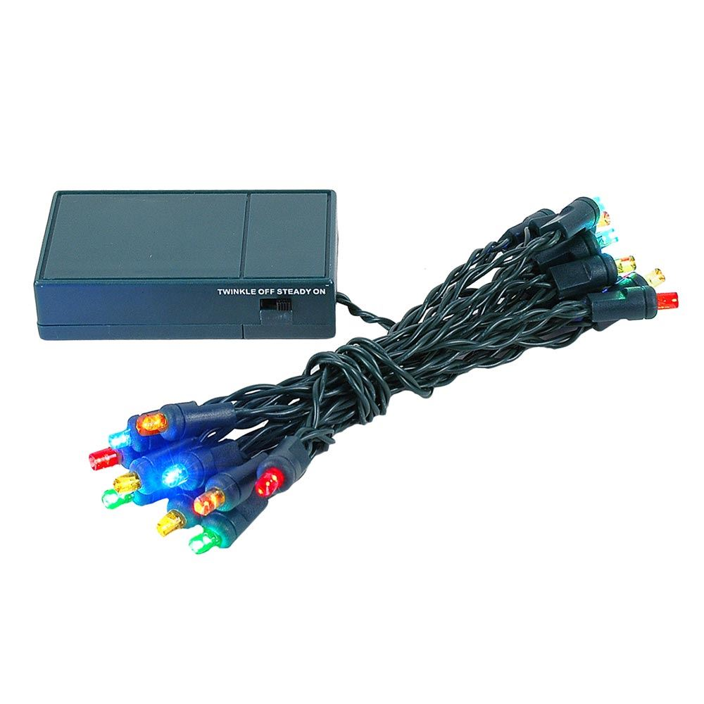 Picture of 20 LED Battery Operated Lights Multi Colored Green Wire