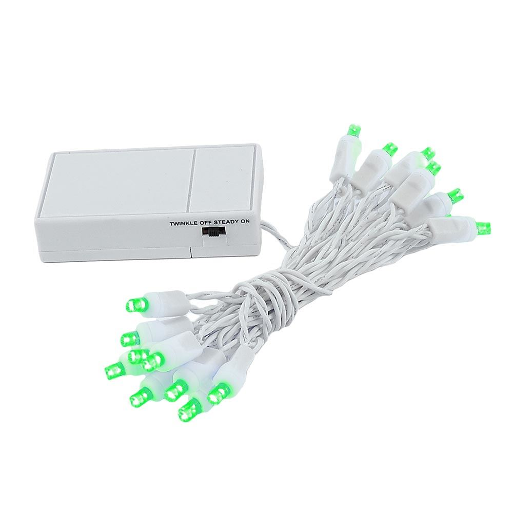Picture of 20 LED Battery Operated Lights Green White Wire