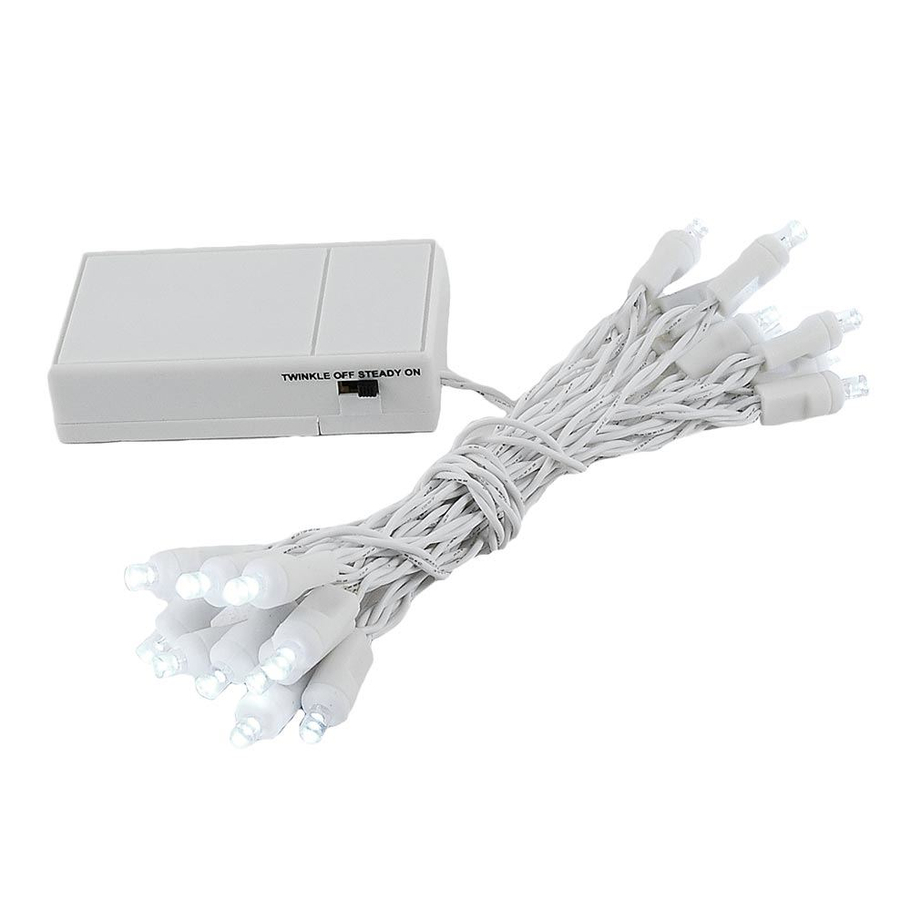 Picture of 20 LED Battery Operated Lights Pure White White Wire