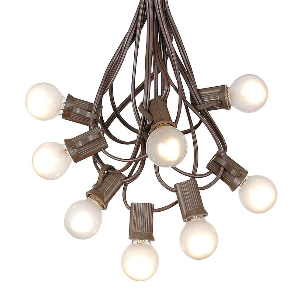Picture of 25 G30 Globe Light String Set with Frosted White Bulbs on Brown Wire