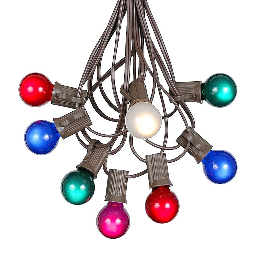 Picture of 25 G30 Globe Light String Set with Multi Colored Satin Bulbs on Brown Wire