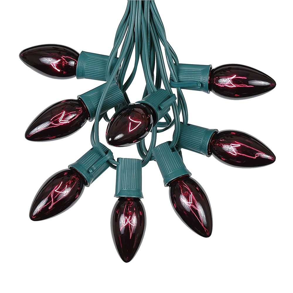Picture of 100 C9 Christmas Light Set - Black Light Very Dark Purple Bulbs - Green Wire
