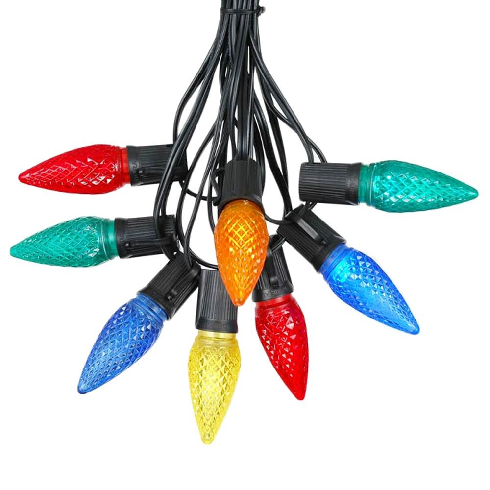 Picture of 25 Light String Set with Multi Colored LED C9 Bulbs on Black Wire