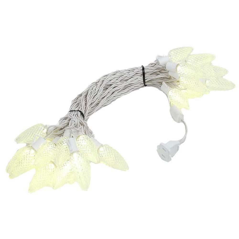 Picture of 25 Warm White LED C9 Pre-Lamped String Lights on White Wire