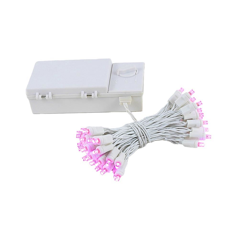 Picture of 50 LED Battery Operated Lights Pink on White Wire