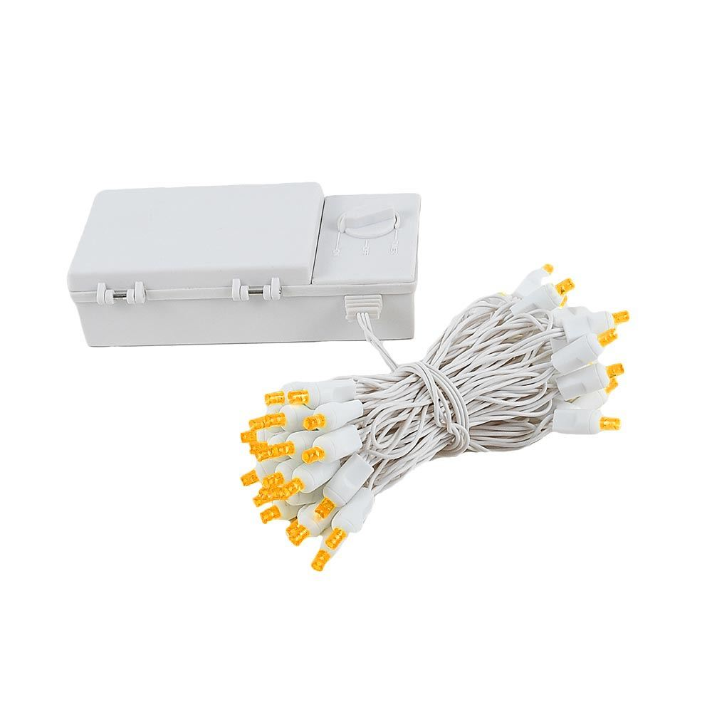 Picture of 50 LED Battery Operated Lights Amber on White Wire