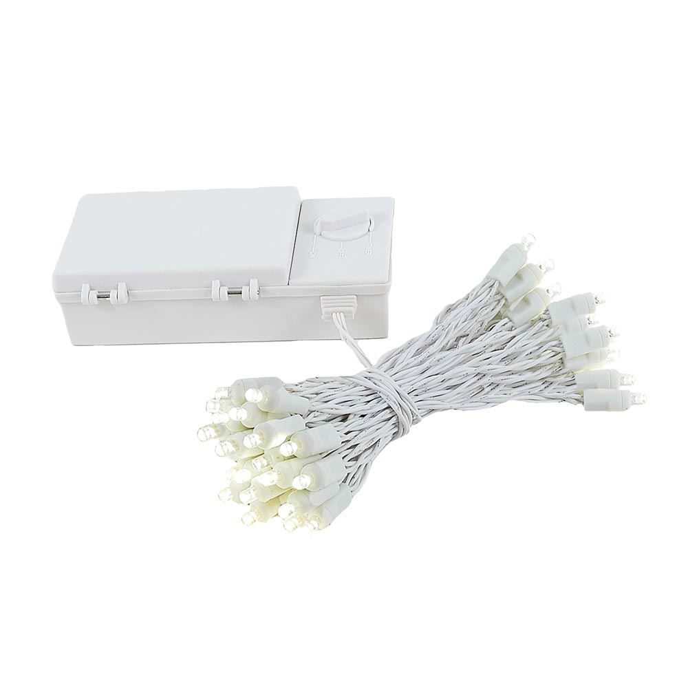 Picture of 50 LED Battery Operated Lights Warm White on White Wire