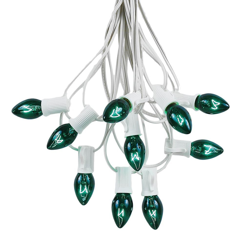 Picture of 25 Light String Set with Green Transparent C7 Bulbs on White Wire