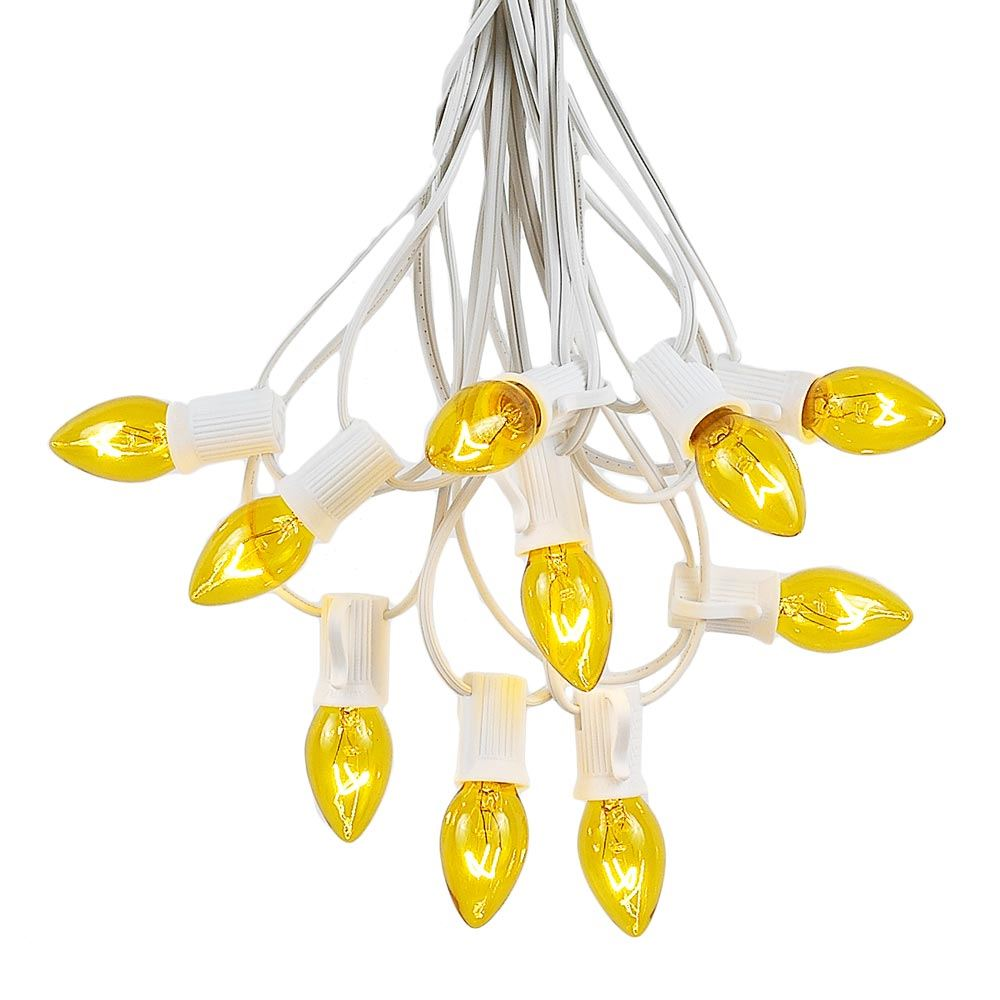 Picture of 100 C7 String Light Set with Yellow Bulbs on White Wire