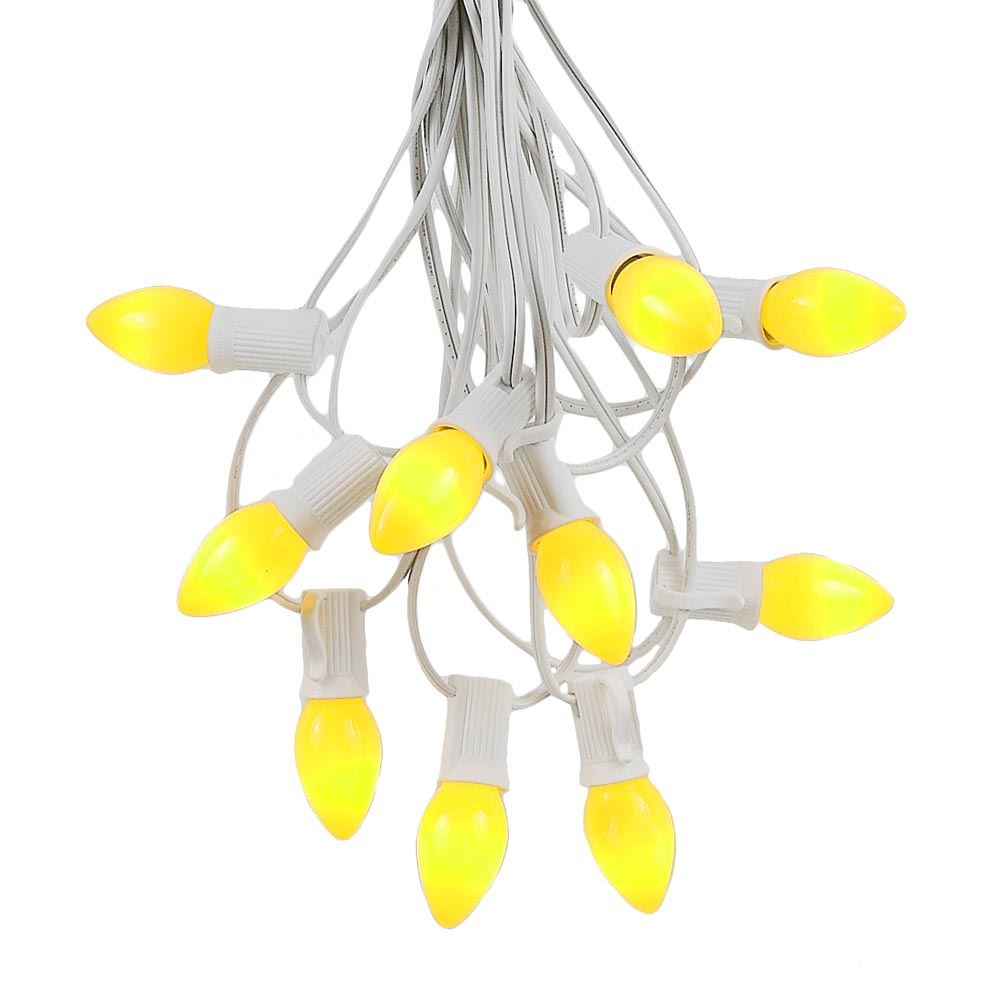 Picture of 100 C7 String Light Set with Yellow Ceramic Bulbs on White Wire