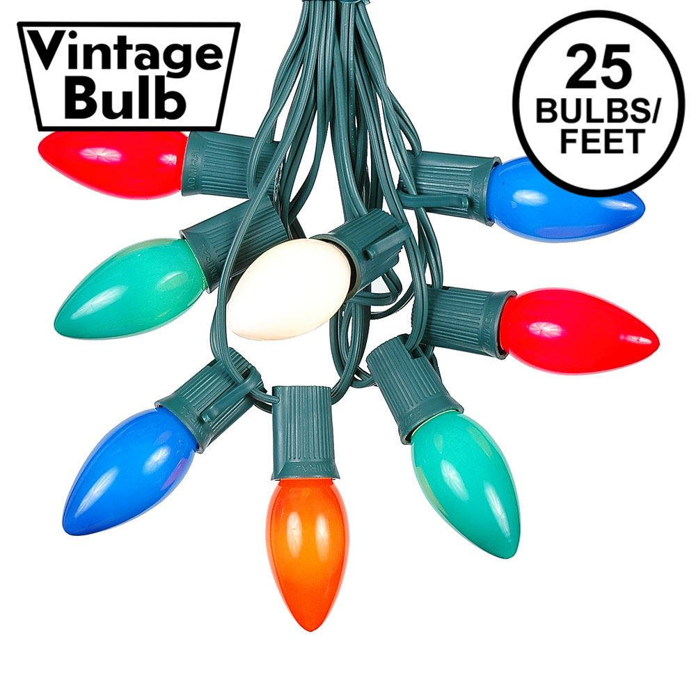 Picture of C9 25 Light String Set - Ceramic Assorted Bulbs - Green Wire