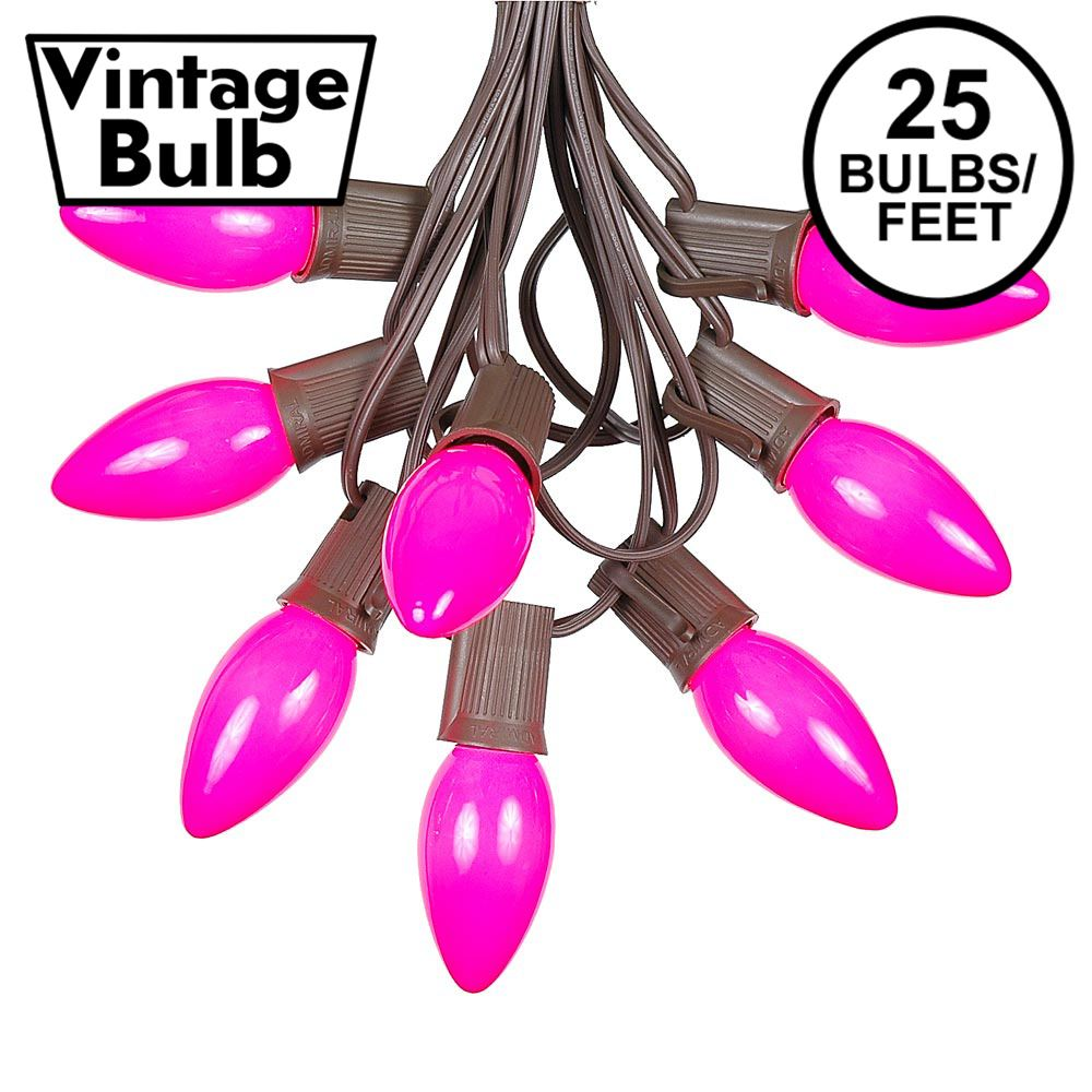 Picture of C9 25 Light String Set with Ceramic Pink Bulbs on Brown Wire