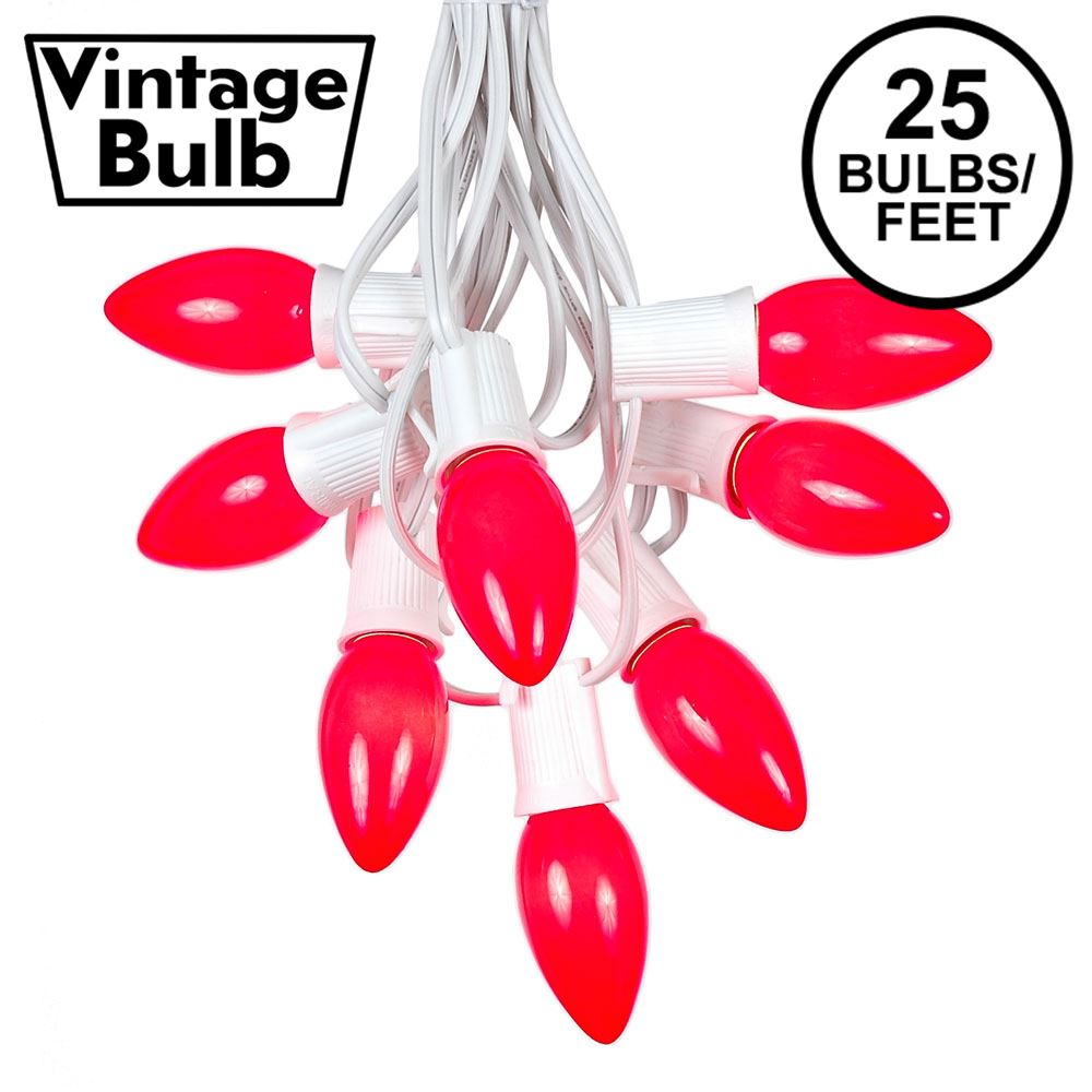 Picture of C9 25 Light String Set with Ceramic Red Bulbs on White Wire
