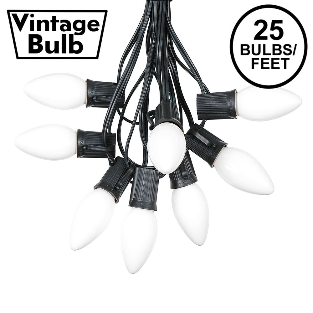 Picture of C9 25 Light String Set with Ceramic White Bulbs on Black Wire
