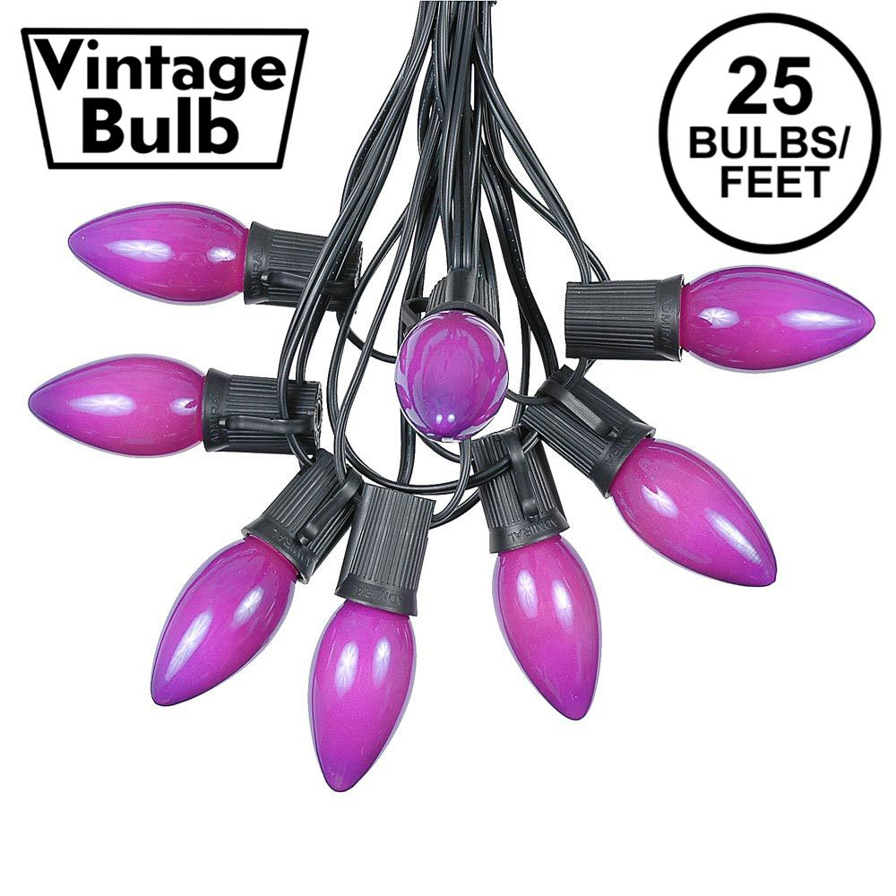 Picture of C9 25 Light String Set with Ceramic Purple Bulbs on Black Wire