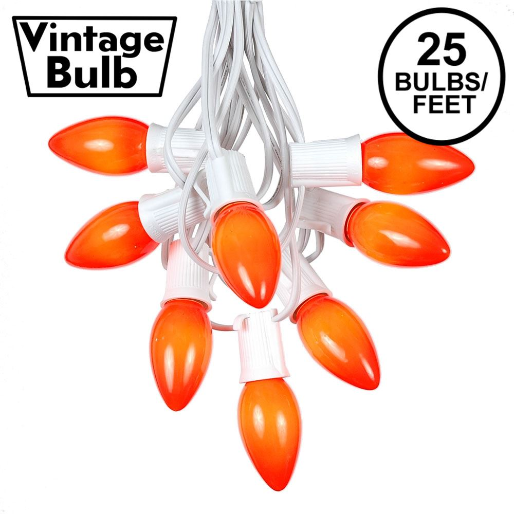 Picture of C9 25 Light String Set with Ceramic Orange Bulbs on White Wire