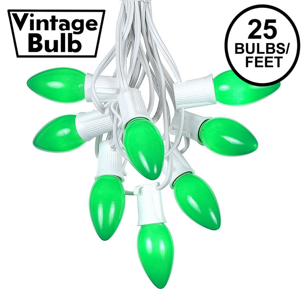 Picture of C9 25 Light String Set with Ceramic Green Bulbs on White Wire