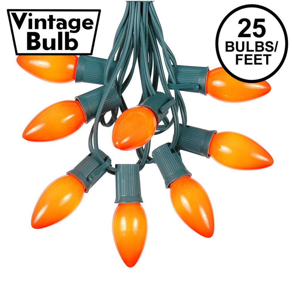 Picture of C9 25 Light String Set with Ceramic Orange Bulbs on Green Wire