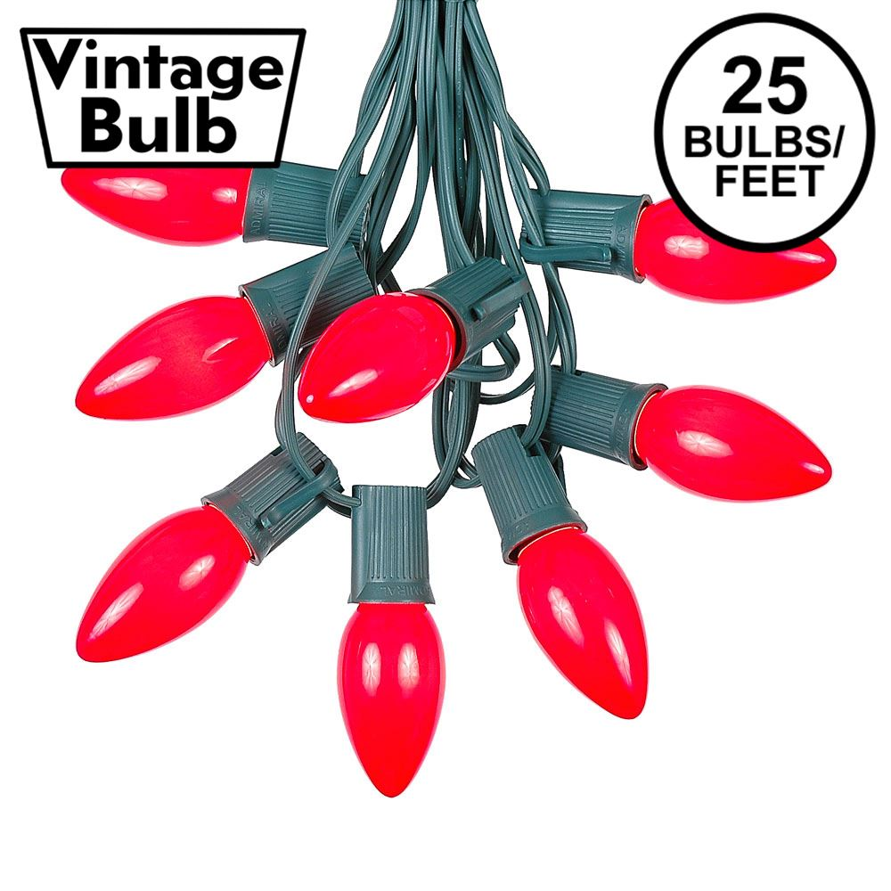 Picture of C9 25 Light String Set with Ceramic Red Bulbs on Green Wire
