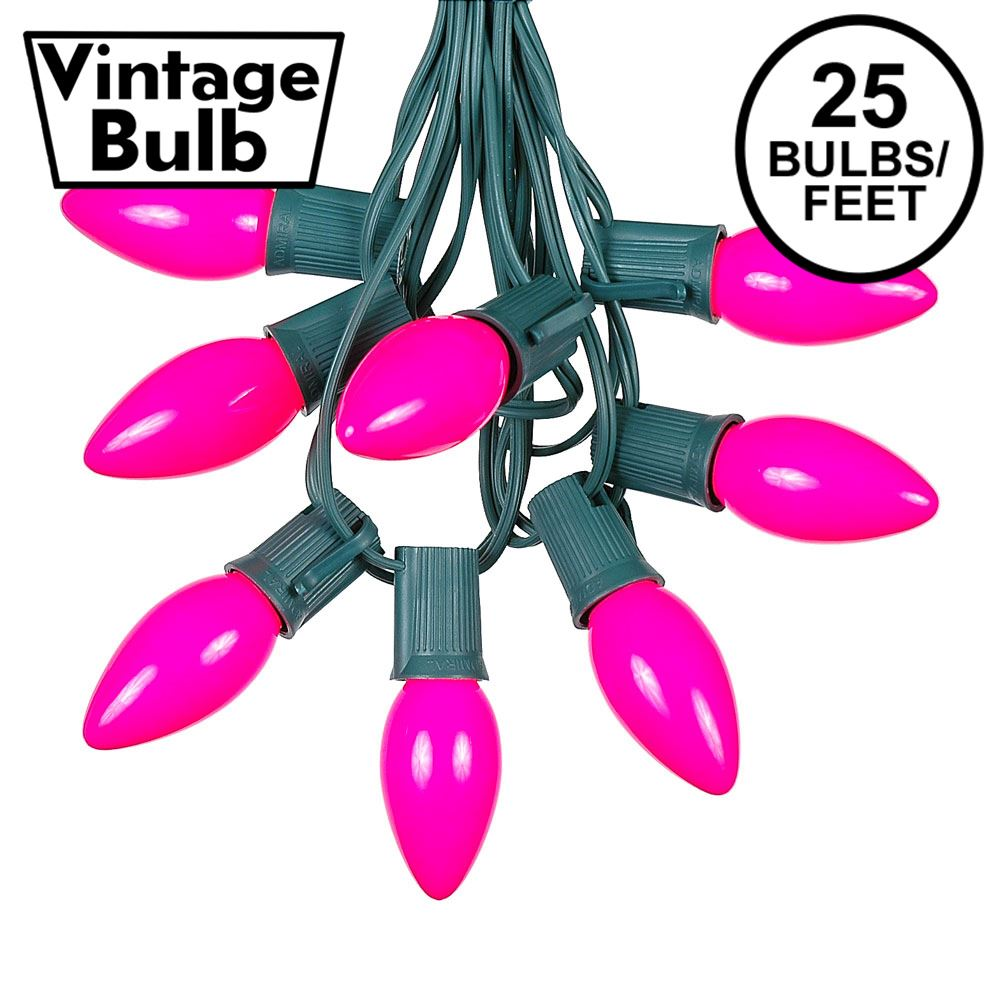 Picture of C9 25 Light String Set with Ceramic Pink Bulbs on Green Wire