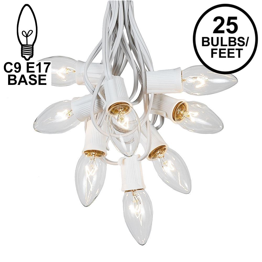 Picture of C9 25 Light String Set with Clear Bulbs on White Wire