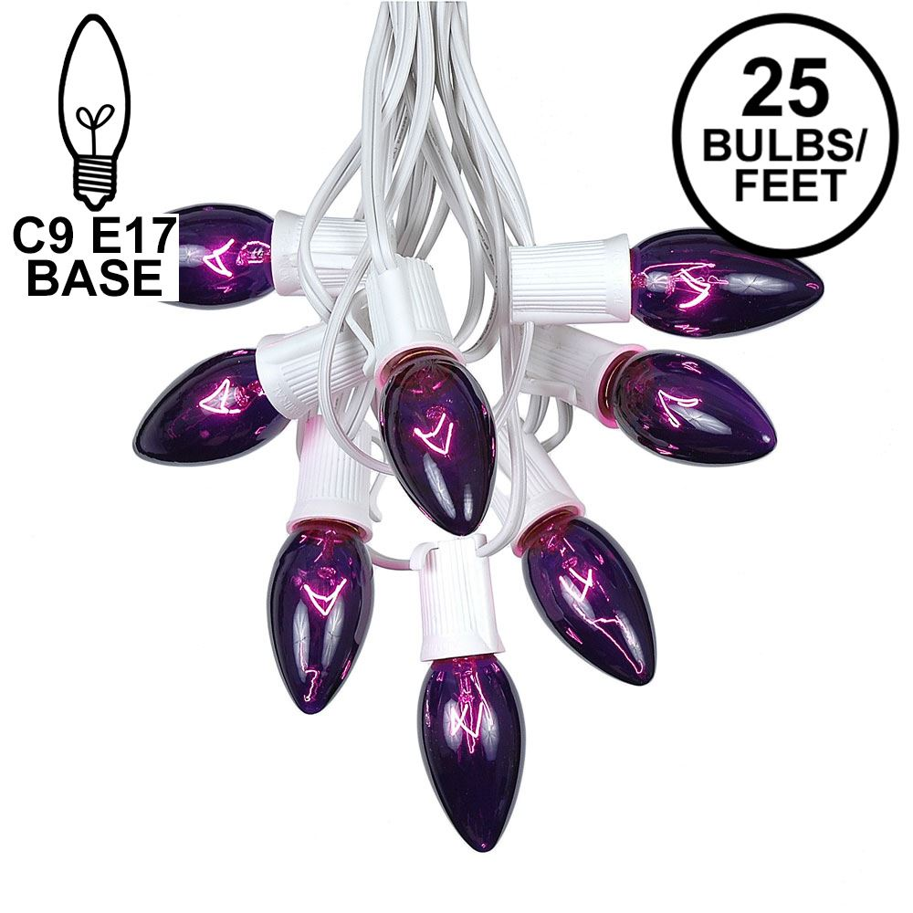 Picture of C9 25 Light String Set with Purple Bulbs on White Wire