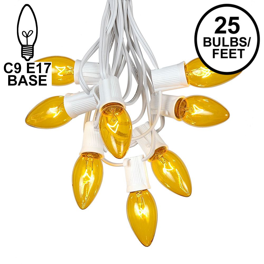 Picture of C9 25 Light String Set with Yellow Bulbs on White Wire