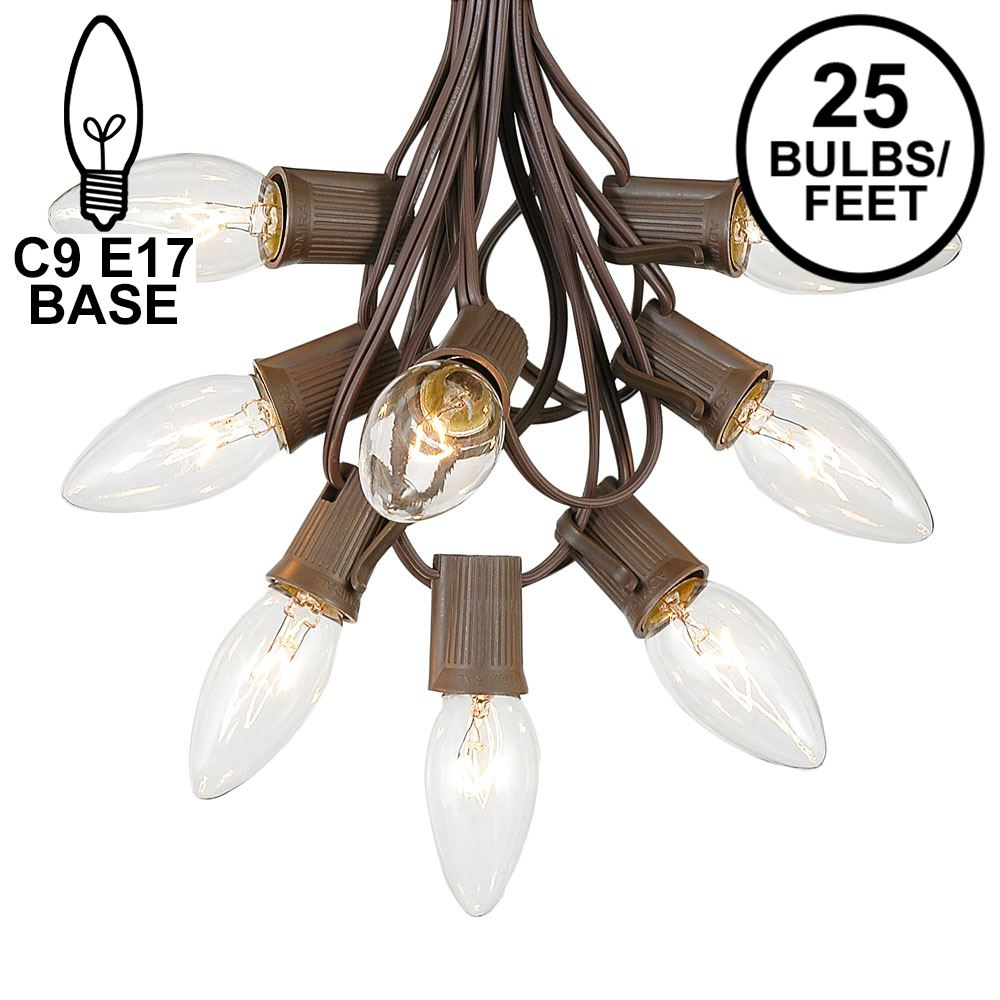Picture of C9 25 Light String Set with Clear Bulbs on Brown Wire