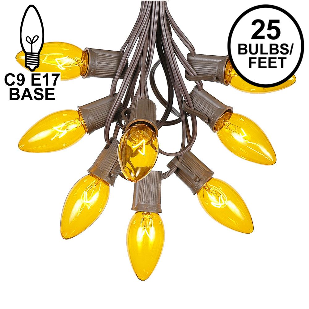 Picture of 25 Twinkling C9 Christmas Light Set - Yellow - Brown Wire