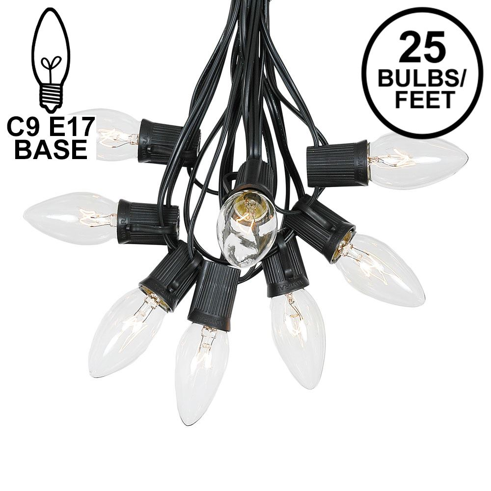 Picture of 25 Twinkling C9 Christmas Light Set - Clear - Black Wire