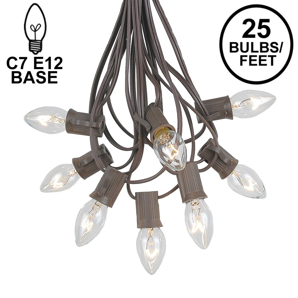 Picture of 25 Light String Set with Clear Transparent C7 Bulbs on Brown Wire