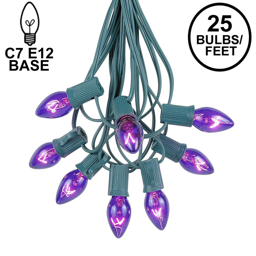 Picture of 25 Light String Set with Purple Transparent C7 Bulbs on Green Wire