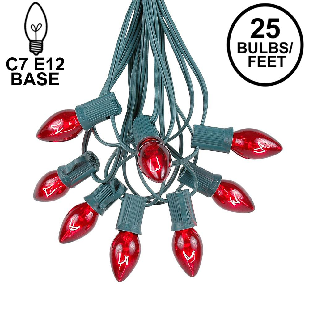 Picture of C7 25 Light String Set with Red Transparent Bulbs on Green Wire