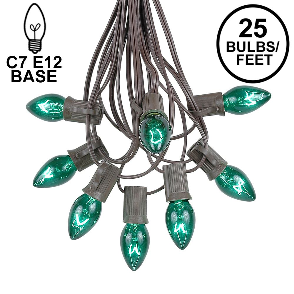 Picture of 25 Light String Set with Green Transparent C7 Bulbs on Brown Wire