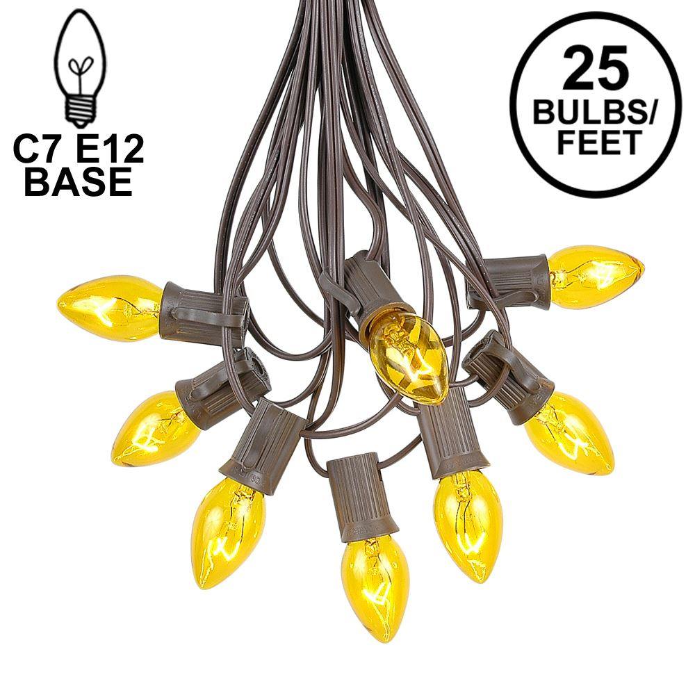 Picture of 25 Light String Set with Yellow Transparent C7 Bulbs on Brown Wire
