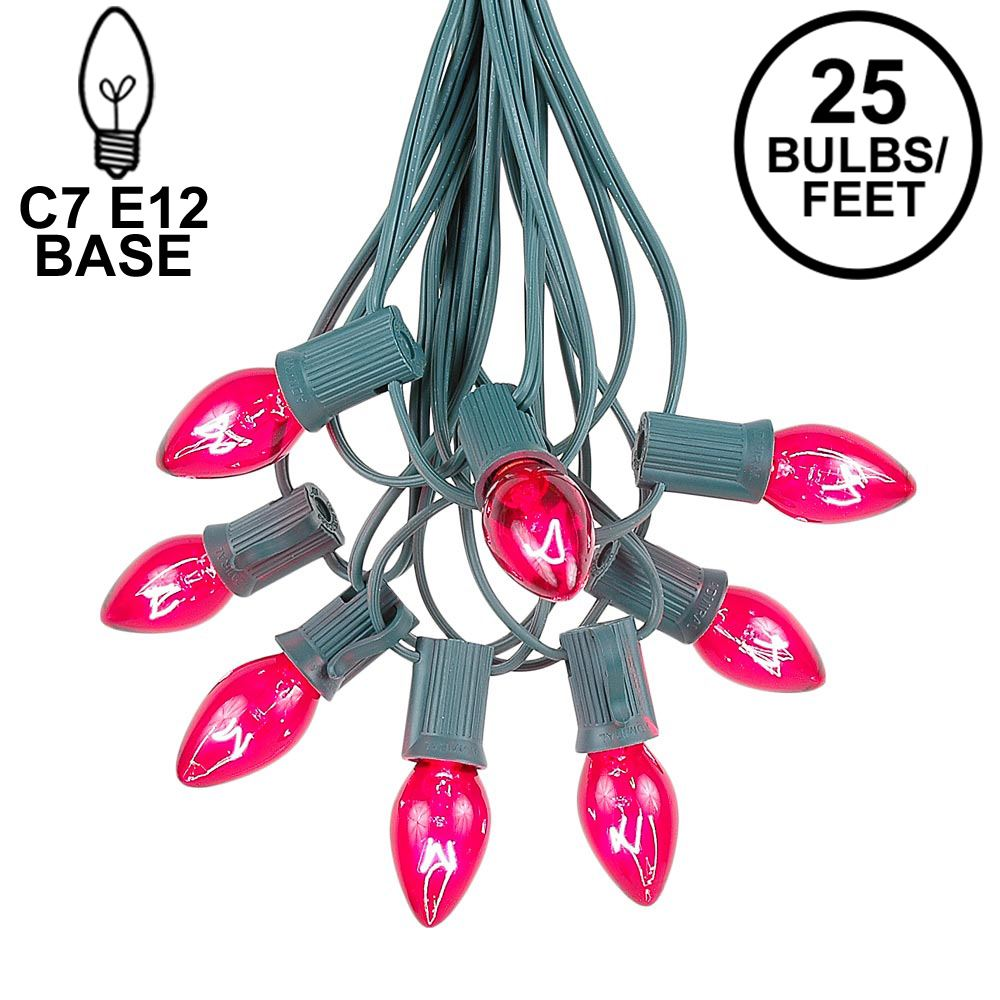Picture of 25 Light String Set with Pink Transparent C7 Bulbs on Green Wire