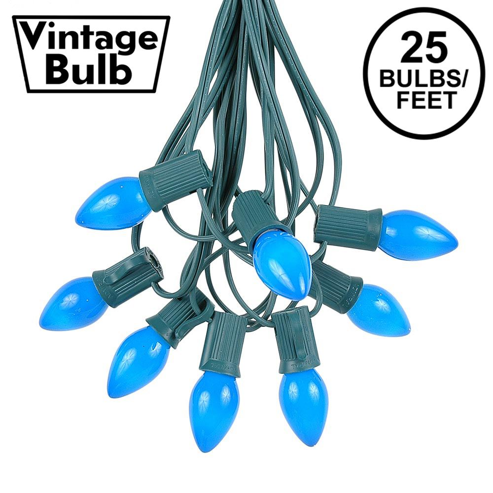 Picture of 25 Light String Set with Blue Ceramic C7 Bulbs on Green Wire