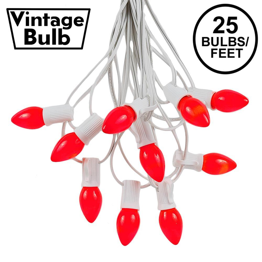 Picture of 25 Light String Set with Red Ceramic C7 Bulbs on White Wire