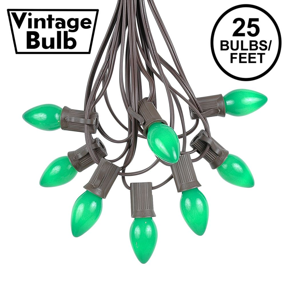 Picture of 25 Light String Set with Green Ceramic C7 Bulbs on Brown Wire