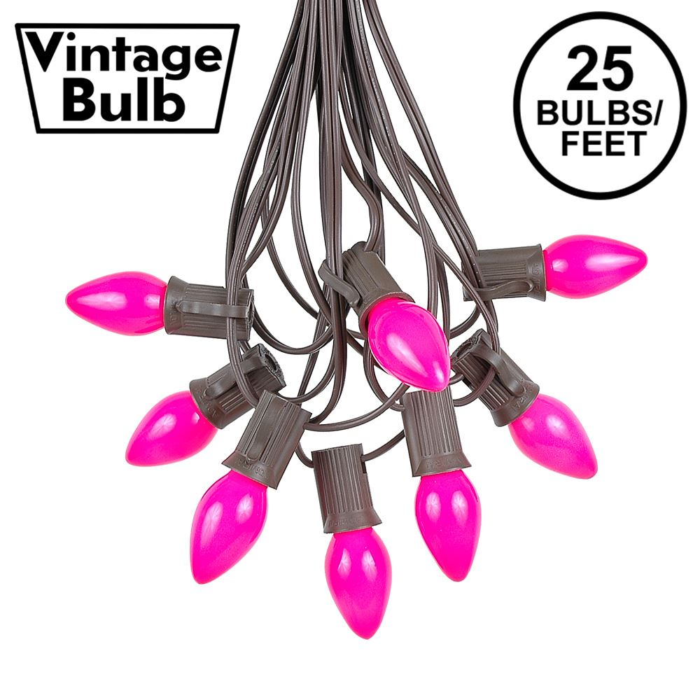 Picture of 25 Light String Set with Pink Ceramic C7 Bulbs on Brown Wire