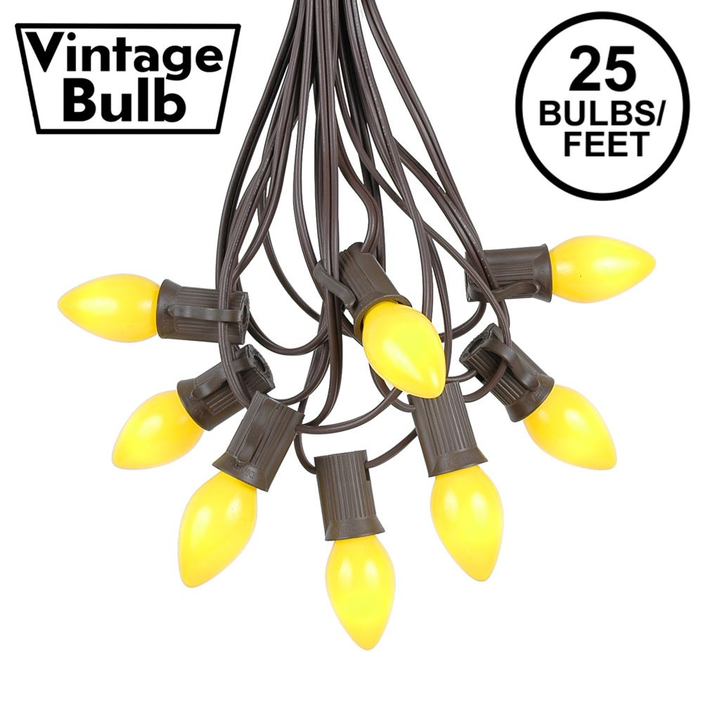 Picture of 25 Light String Set with Yellow Ceramic C7 Bulbs on Brown Wire