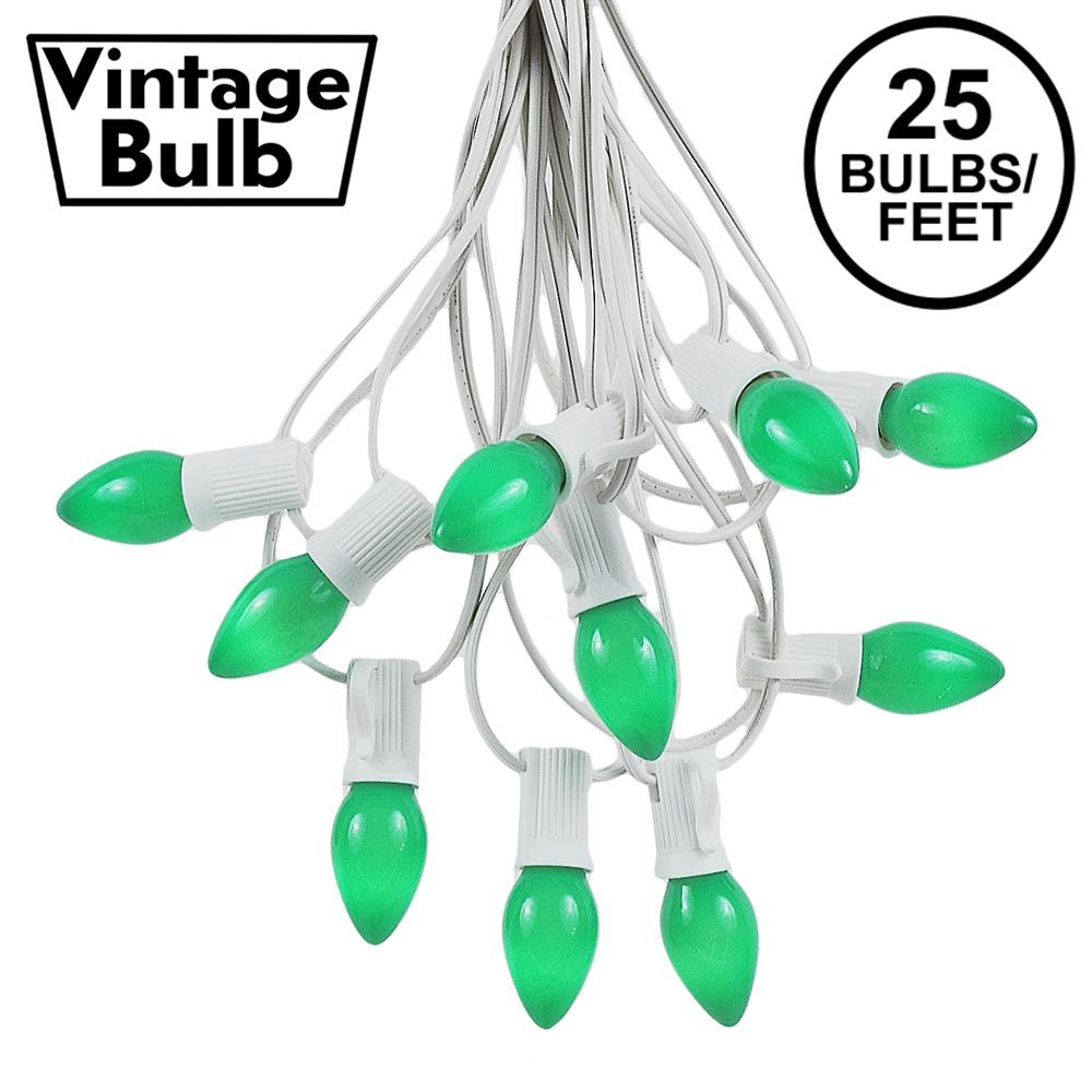 Picture of 25 Light String Set with Green Ceramic C7 Bulbs on White Wire