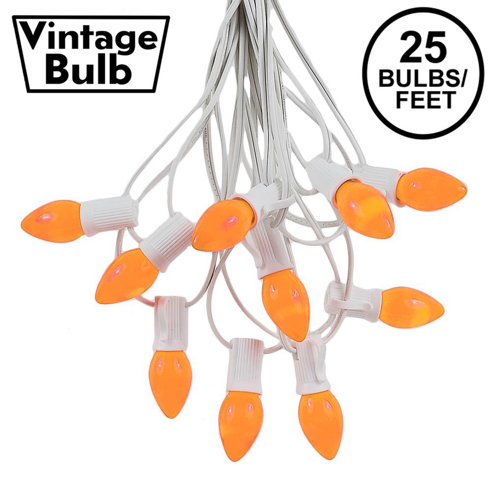 Picture of 25 Light String Set with Orange Ceramic C7 Bulbs on White Wire