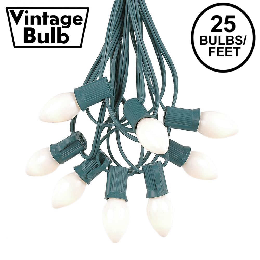 Picture of 25 Light String Set with White Ceramic C7 Bulbs on Green Wire