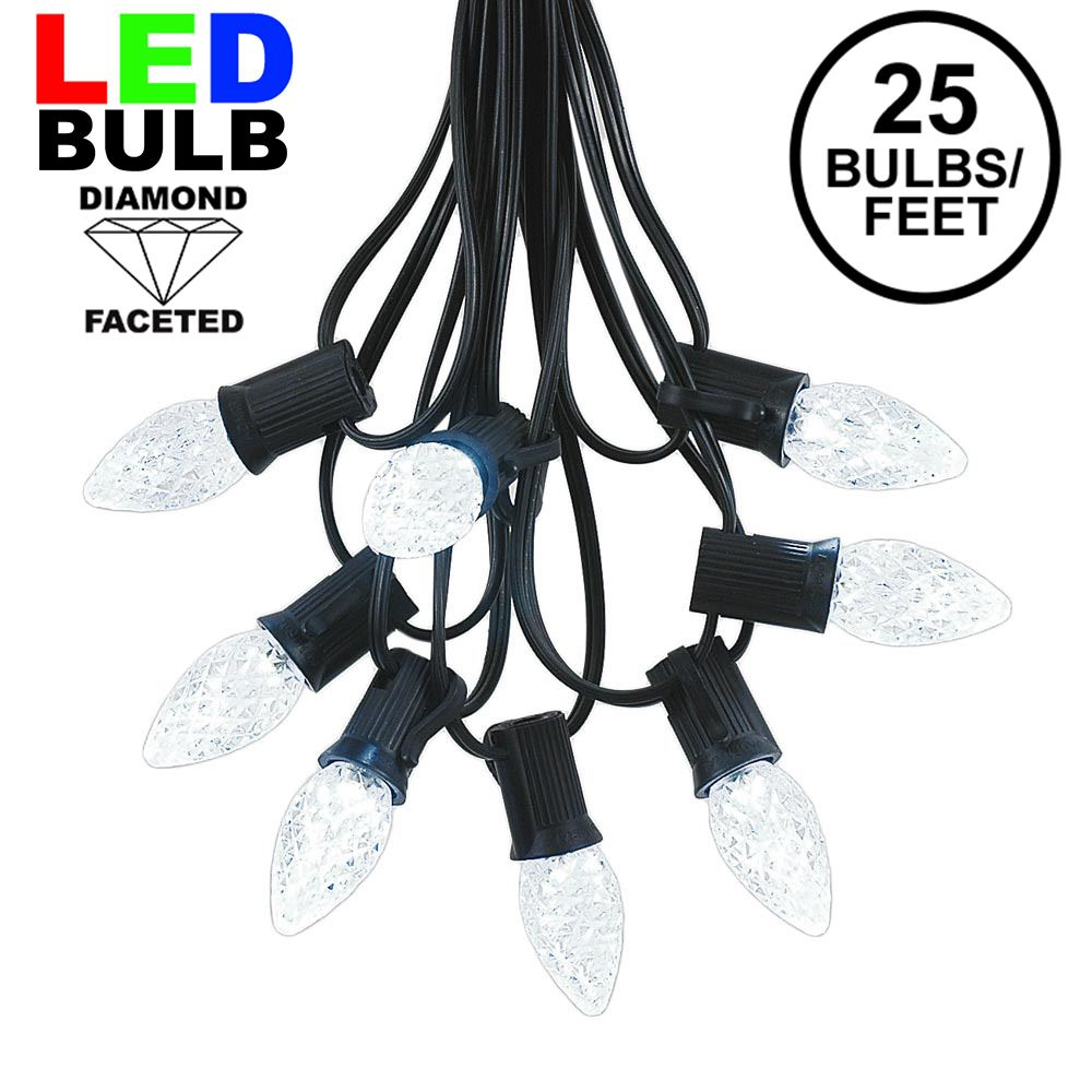 Picture of 25 Light String Set with Pure White LED C7 Bulbs on Black Wire