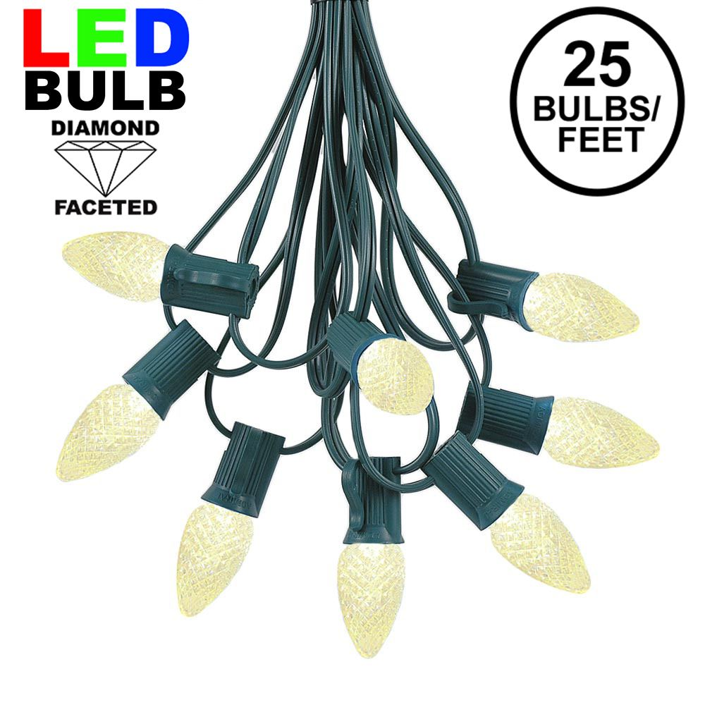 Picture of 25 Light String Set with Warm White LED C7 Bulbs on Green Wire