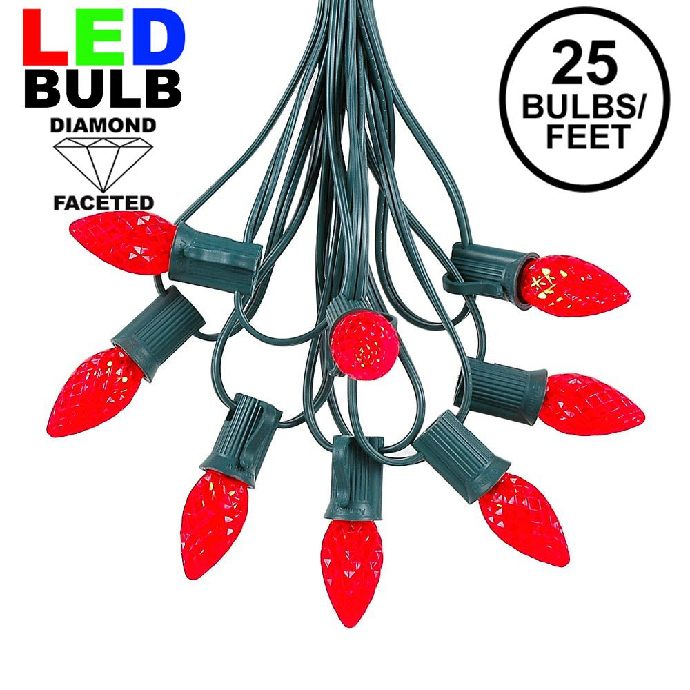Picture of 25 Light String Set with Red LED C7 Bulbs on Green Wire