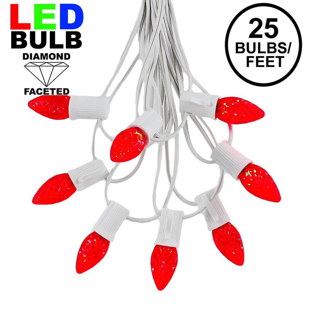 Picture of 25 Light String Set with Red LED C7 Bulbs on White Wire