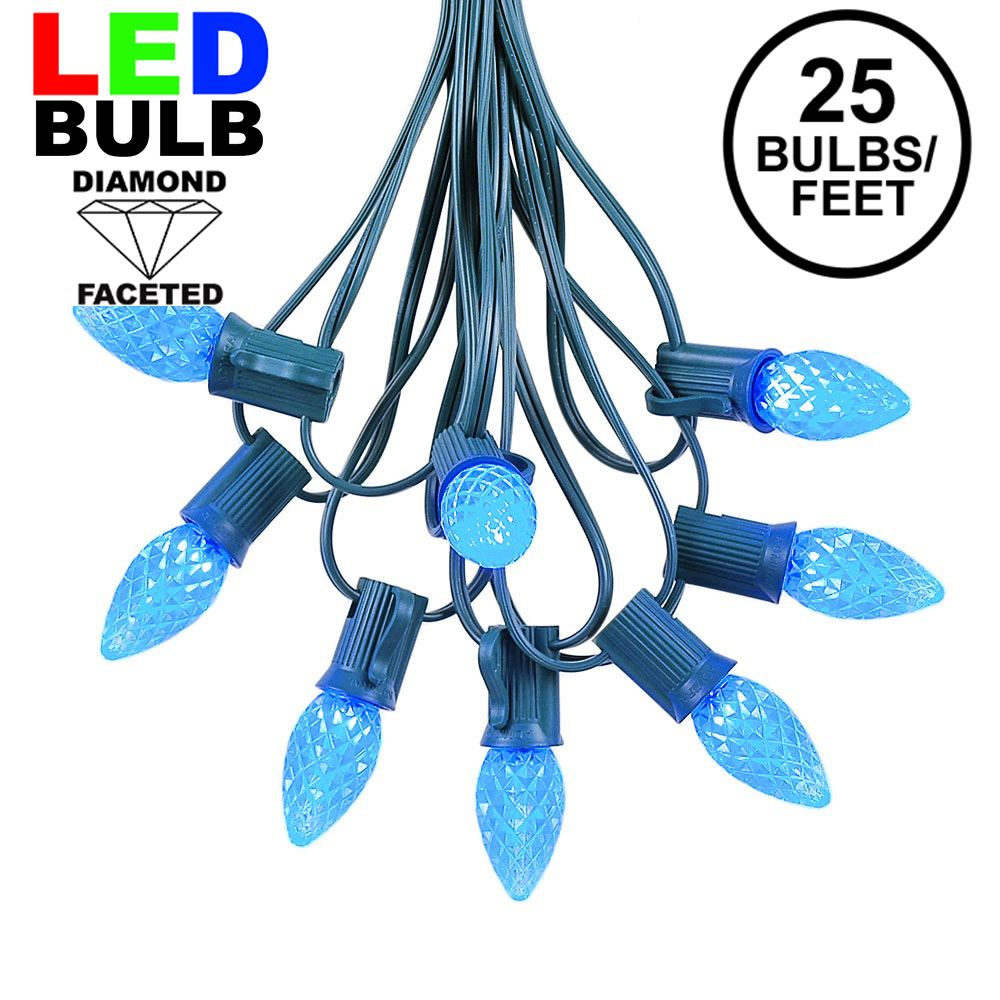 Picture of 25 Light String Set with Blue LED C7 Bulbs on Green Wire