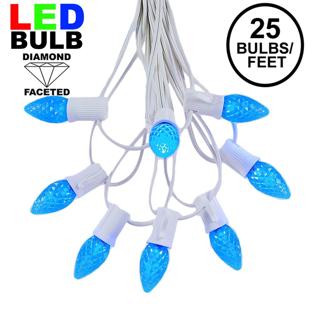 Picture of 25 Light String Set with Blue LED C7 Bulbs on White Wire
